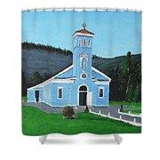 The Blue Church Shower Curtain
