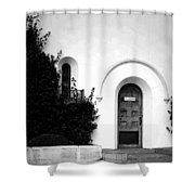 The Blue Door B And W Shower Curtain
