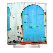 The Blue Door Shutters Shower Curtain