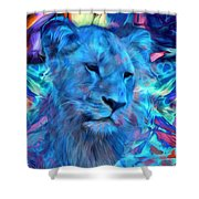 The Blue Lioness Shower Curtain
