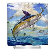 The Blue Marlin Leaping To Eat Shower Curtain by Terry  Fox