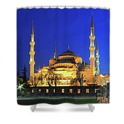 The Blue Mosque At Night Istanbul Turkey Shower Curtain