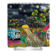 The Blue Trailer Shower Curtain