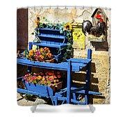 The Blue Wheelbarrow Shower Curtain