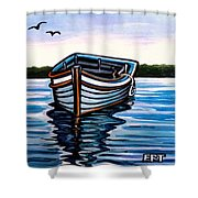 The Blue Wooden Boat Shower Curtain