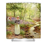 The Bluebell Glade Shower Curtain by Ernest Walbourn