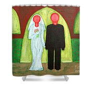 The Blushing Bride And Groom Shower Curtain