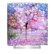 The Blushing Tree In Bloom Shower Curtain