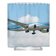 The Boeing 787-8 G-tuif Landing Thomson Tui Airline Shower Curtain