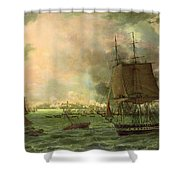 The Bombing Of Cadiz By The French  Shower Curtain by Louis Philippe Crepin