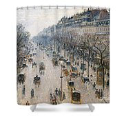 The Boulevard Montmartre On A Winter Morning, 1897  Shower Curtain