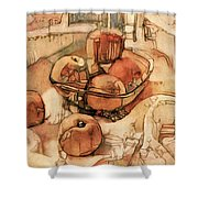 The Bountiful Feast - Asian Pears Shower Curtain