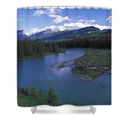 The Bow River And Castle Mountain Shower Curtain