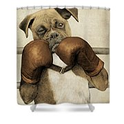 The Boxer Shower Curtain by Eric Fan