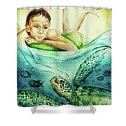 The Boy And The Turtle Shower Curtain
