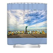 The Boy On The Seahorse Shower Curtain
