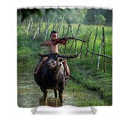 The Boy Playing The Red Violin In Thailand, Asia Shower Curtain