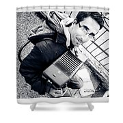 The Brave Accordion Player Shower Curtain