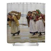 The Breadwinners Or Newlyn Fishwives Shower Curtain