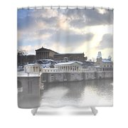 The Breaking Sun Over Philadelphia Shower Curtain by Bill Cannon