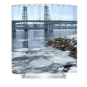 The Bridges Of Bath In Winter Shower Curtain
