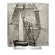 The Brig Hms Beagle From Journal Of Shower Curtain