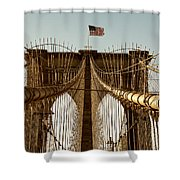 The Brooklyn Bridge Flag Shower Curtain
