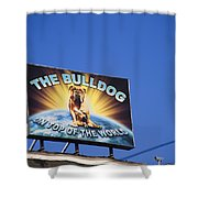 The Bulldog On Top Of The World Shower Curtain
