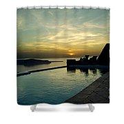 The Caldera View In Santorini Shower Curtain