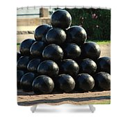 The Cannonballs At The Battery In Charleston Sc Shower Curtain