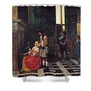 The Card Players Shower Curtain by  Pieter de Hooch