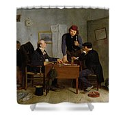 The Card Players Shower Curtain by  Richard Caton Woodville