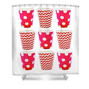 the Card with Red paper disposable glass in polka dot and zigzag isolated on white with copy space Shower Curtain