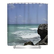 The Caribbean Sea Is Seen From A Rocky Shower Curtain