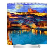 The Castle And The River Shower Curtain