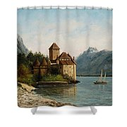 The Castle Of Chillon Evening Shower Curtain by Gustave Courbet