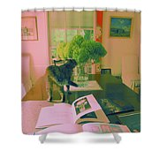 The Cat And The Hydrangea Shower Curtain