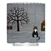 The Cat Is Waiting  Shower Curtain