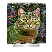 The Cat Who Loved Flowers 1 Shower Curtain