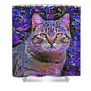 The Cat Who Loved Flowers 3 Shower Curtain