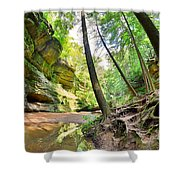 The Caves And Trail At Old Man's Cave Hocking Hills Ohio Shower Curtain