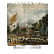 The Celebration In East Bergholt Of The Peace Of 1814 Concluded In Paris  Shower Curtain