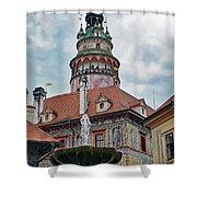 The Cesky Krumlov Castle Tower With A Fountain Below Within The Czech Republic Shower Curtain