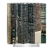The Chandler Condominiums Building Chicago Aerial Shower Curtain