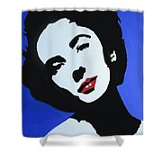 The Charming Lady In Black And White With Red Lips Shower Curtain