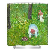 The Chestnut Gatherers Shower Curtain