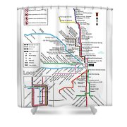 The Chicago Pubway Map Shower Curtain