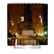 The Chicago River At Night Shower Curtain
