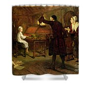 The Child Handel Discovered By His Parents Shower Curtain by Margaret Isabel Dicksee