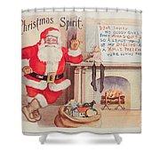 The Christmas Spirit Vintage Card Santa Next To Fireplace Shower Curtain